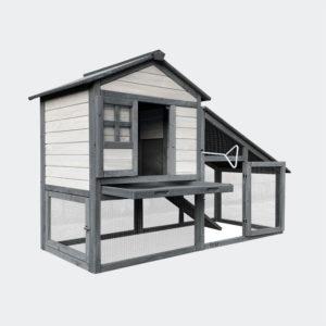 Králíkárna XL šedé dřevo 151x66x100cm