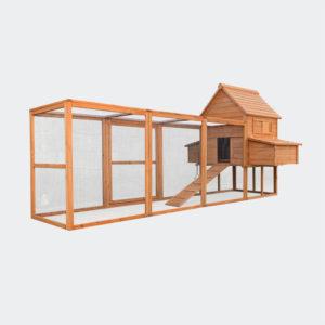 Kurník s kukaní červenohnědé dřevo 310x150x150cm