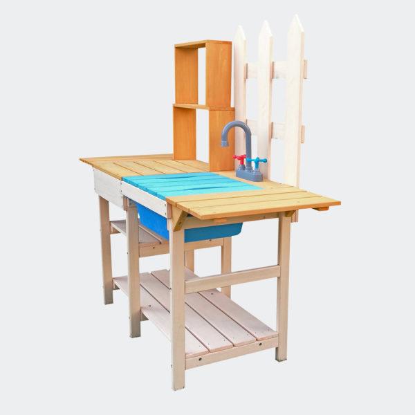 Dětská venkovní hrací kuchyně ze dřeva s policí
