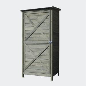 Zahradní skříň ze dřeva 69,5x52x142cm křídlové dveře a plochá střecha