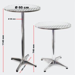 Hliníkový bistro stůl, skládací, výškově nastavitelný 70cm/110cm Ø60cm