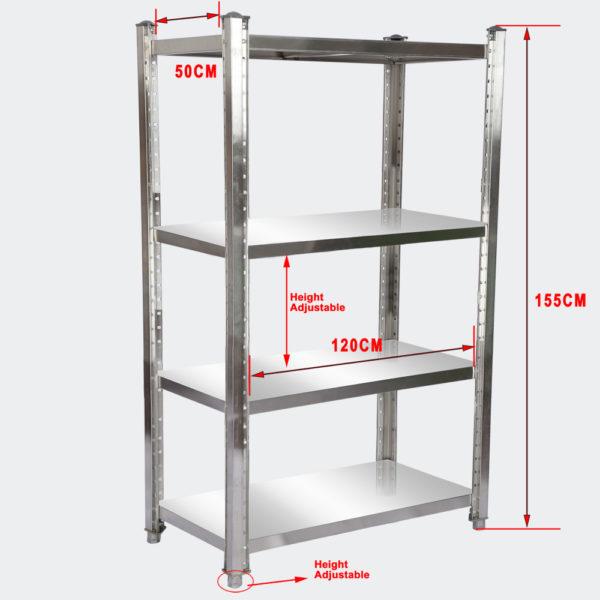 Regál z nerezové oceli 120x50x155 cm se 4 policemi pro gastronomii