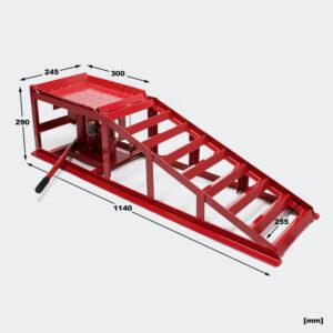 Dvě automobilové rampy s hydraulickým zvedacím zvedákem 2000 kg, nastavitelná výška